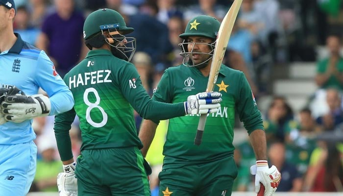 Mohammad Hafeez celebrates reaching his half-century in Pakistans World Cup match against England at Trent Bridge. Photo: AFP