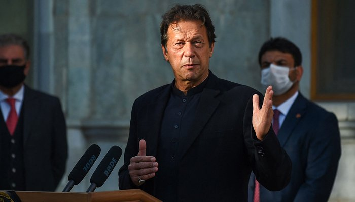 In this file photo taken on November 19, 2020, Prime Minister Imran Khan speaks during a joint press conference with Afghanitan´s president at the Presidential Palace in Kabul. — AFP