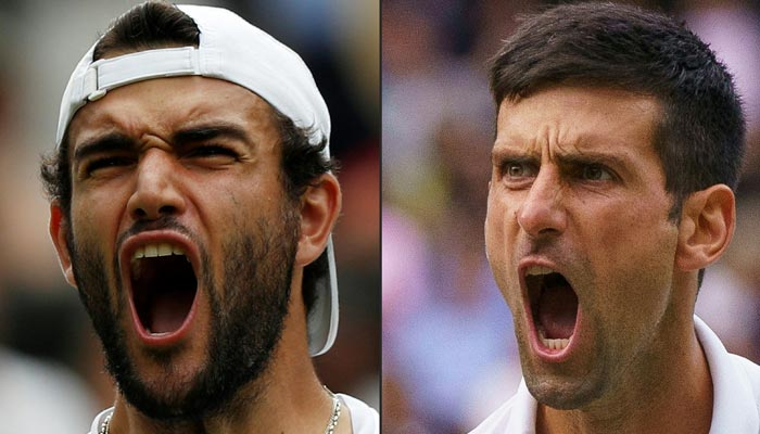 This combination of pictures created on July 10, 2021 shows Italys Matteo Berrettini (L) celebrating his win against Polands Hubert Hurkacz during his mens singles semi-final match, and Serbias Novak Djokovic celebrating his win against Canadas Denis Shapovalov during his mens singles semi-final match on the eleventh day of the 2021 Wimbledon Championships at The All England Tennis Club in Wimbledon, southwest London, on July 9, 2021. — AFP/File
