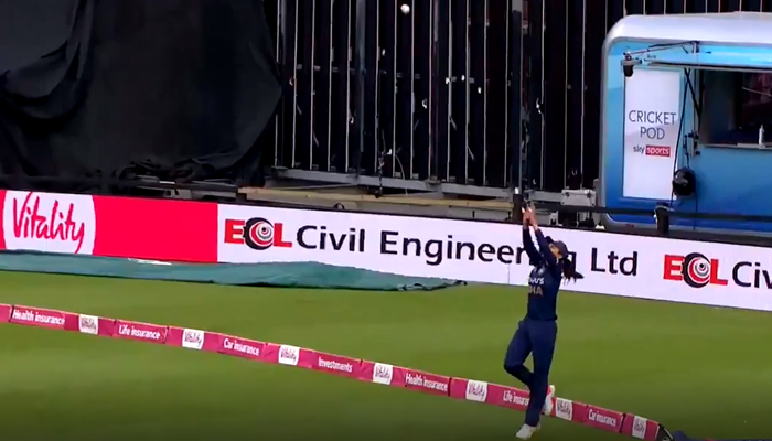 Harleen Deol takes a catch near the boundary. — Twitter screengrab