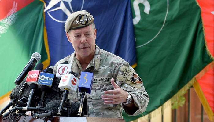 General Austin Scott Miller, US top commander of coalition forces in Afghanistan speaks during an official handover ceremony at the Resolute Support headquarters in the Green Zone in Kabul on July 12, 2021. — AFP