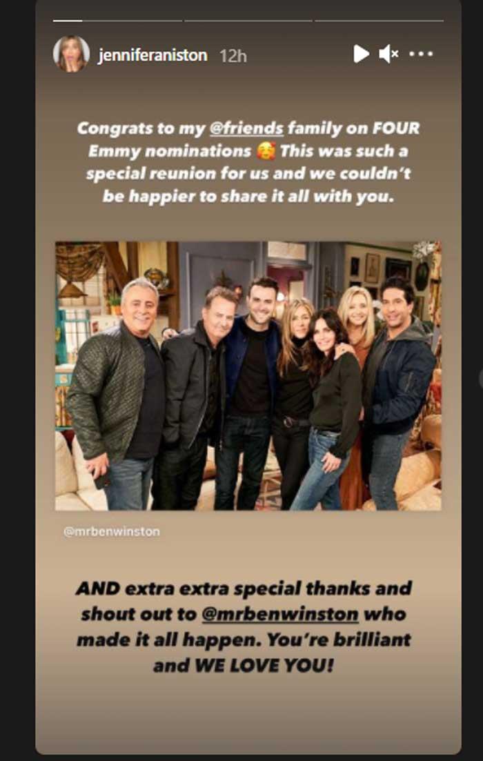 Jennifer Aniston congratulates 'Friends' family on Emmy nominations