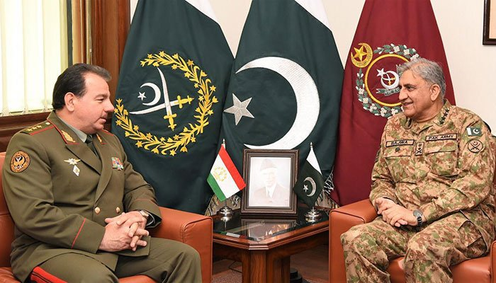 Defence Minister of Tajikistan General Sherali Mirzo called on Chief of Army Staff (COAS) General Qamar Javed Bajwa at the General Headquarters today. Photo: Files/ISPR