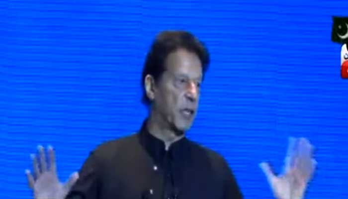 Prime Minister Imran Khan addressing Pakistan-Uzbekistan Business Forum in Tashkent.