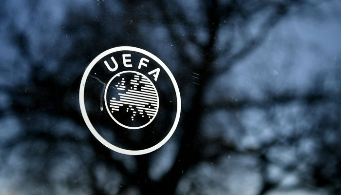 This file photo taken on February 28, 2020, shows the UEFA logo at the organization´s headquarters in Nyon. — AFP/File