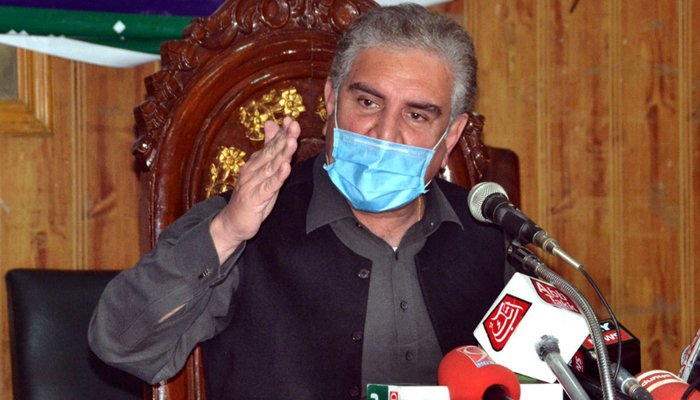 Foreign Minister Shah Mehmood Qureshi addresses a press conference in Multan. — PID/File