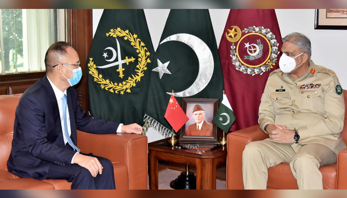 Chief of Army Staff General Qamar Javed Bajwa (right) meets Chinese Ambassador to Pakistan Nong Rong (left) at the General Headquarters in Rawalpindi, on July 19, 2021. — ISPR
