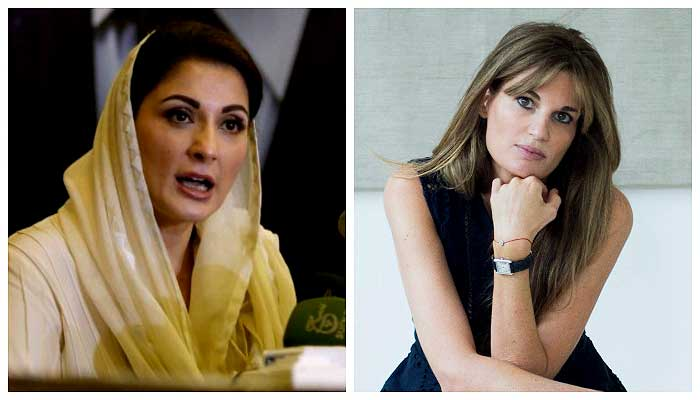 PML-N Vice President Maryam Nawaz (L) and Jemima Goldsmith (R)