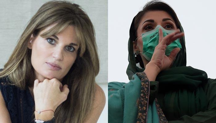 Prime Minister Imran Khan's ex-wife Jemima Goldsmith (left) and PML-N Vice-President Maryam Nawaz (right). — Wikipedia/AFP/File