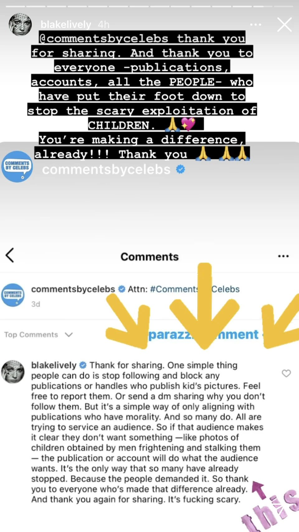 Blake Lively shares new note sharing paparazzi's threatening nature towards kids