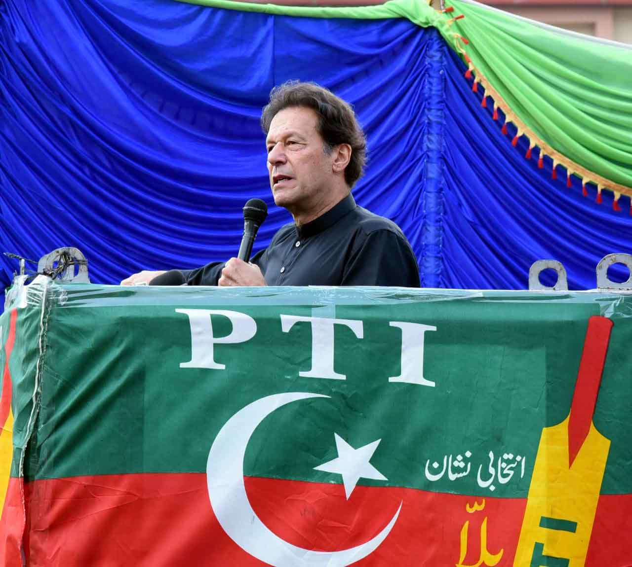 Prime Minister Imran Khan addressing an election campaign rally in Tarar Khel, Azad Jammu and Kashmir, on July 23, 2021. — PTI