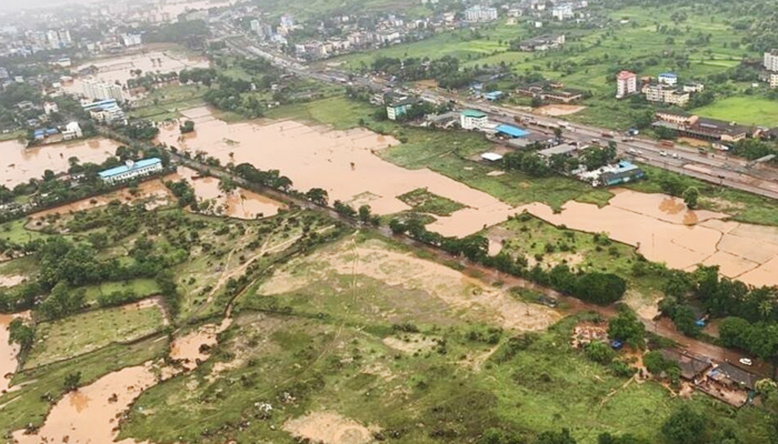 Heavy monsoon rains in the Raigad district of Maharashtra state have caused flooding. — AFP