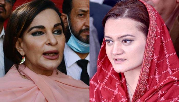 PPP Vice-President Senator Sherry Rehman (left and PML-N spokesperson Marriyum Aurangzeb. — PPI/Twitter/File