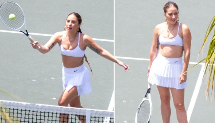 Lady Gaga glams up for tennis lessons on romantic trip with boyfriend