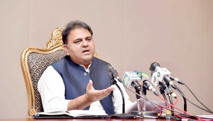 Minister for Information and Broadcasting Fawad Chaudhry addressing a post-cabinet press briefing in Islamabad, on July 27, 2021. — PID