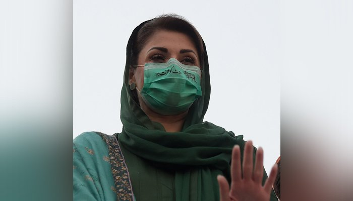 PML-N Vice-President Maryam Nawaz Sharif gestures during a protest rally in front of the election commission in Islamabad on January 19, 2021. — AFP/File