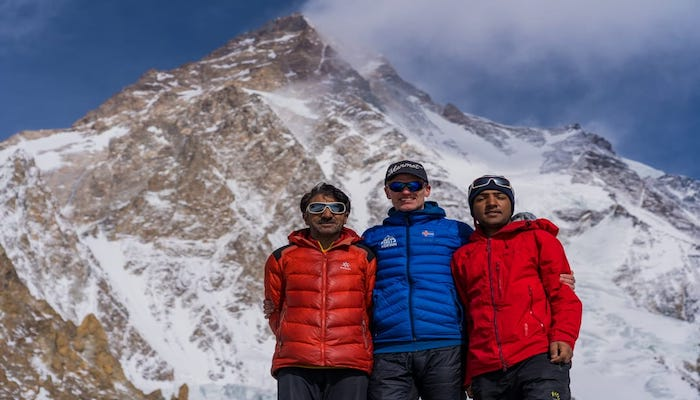 Pakistani mountaineer Muhammad Ali Sadpara (left) with Iceland mountaineer John Snorri and Alis son Sajid Sadpara. This picture was shared by Snorri two days before he and Ali went missing on the K2 summit. Photo: Courtesy Sajid Ali Sadpara