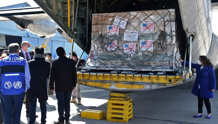 View of boxes containing some of 1,008,000 doses of US Johnson & Johnson vaccines against COVID-19 donated through the COVAX mechanism, upon their arrival at the Air Force base in El Alto, Bolivia, on July 11, 2021. — AFP/File