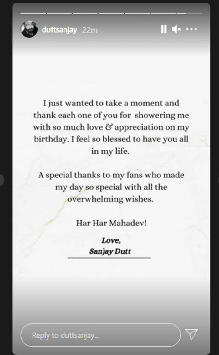 Sanjay Dutt thanks fans for sending love on his birthday