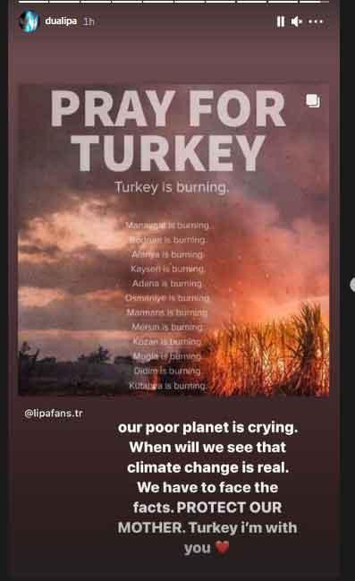 Dua Lipa sends prayers for Turkey