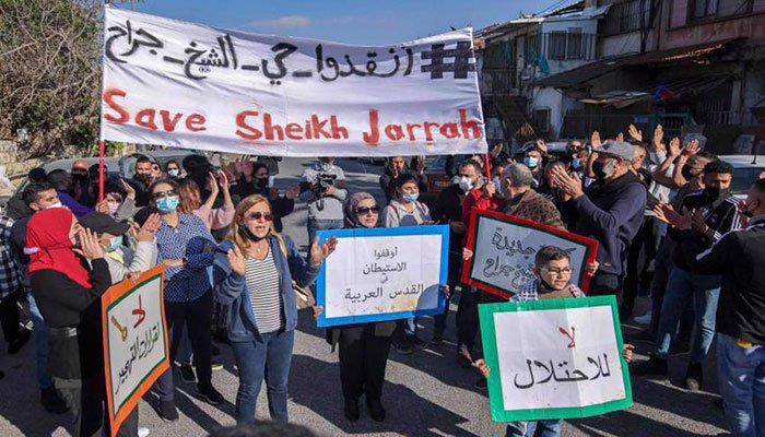 Protesters marching in support of Palestinians living in Sheikh Jarrah. Photo: File.