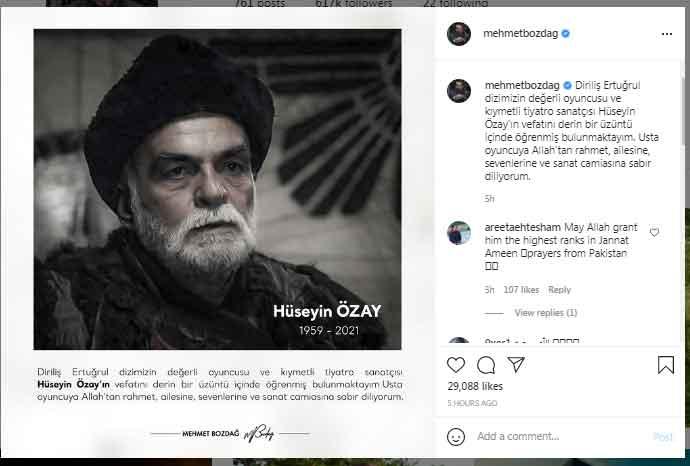 Dirilis:Ertugrul actors mourn the death of Huseyin Ozay aka Korkut Bey