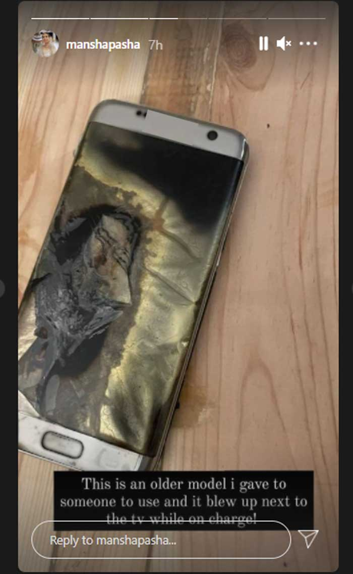 Mansha Pasha loses all data as her mobile phone blows up while on charge