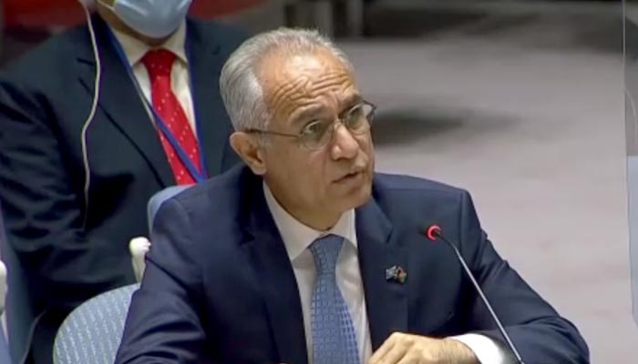 Ambassador and Permanent Representative of Afghanistan to the United Nations Ghulam M Isaczai speaking during the United Nations Security Councils open meeting on the deteriorating situation in Afghanistan at the United Nations in New York, on August 6, 2021. — Screengrab from UN live feed