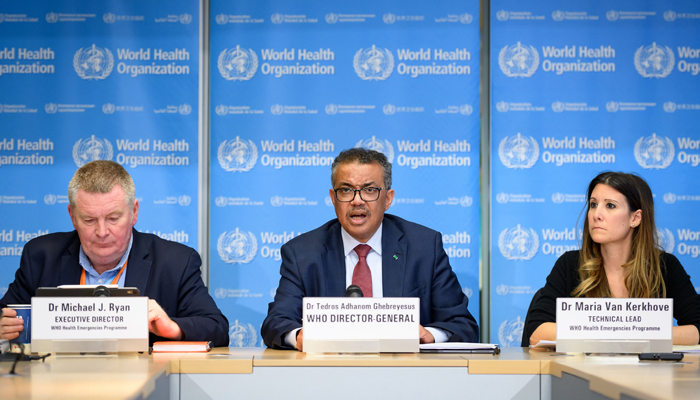World Health Organization leaders at a press briefing on COVID-19, held on March 6, 2020 at WHO headquarters in Geneva. — AFP/File