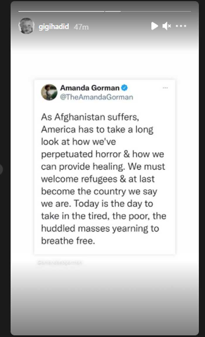 Bella Hadid prays for Afghanistan