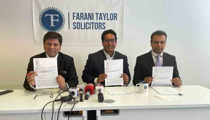 PIA Country Manager Taimoor Malik with lawyers at Farani Taylor.