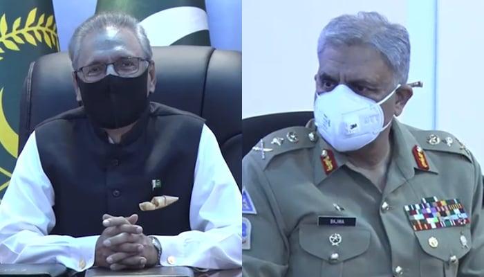 President Arif Alvi (left) and Chief of Army Staff (COAS) General Qamar Javed Bajwa at the General Headquarters (GHQ) in Rawalpindi, on August 25, 2021. — ISPR