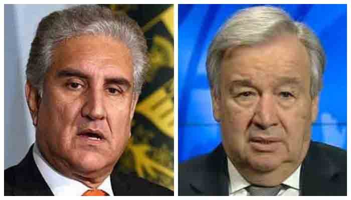 Foreign Minister Shah Mahmood Qureshi (L) and UNSecretary-General Antonio Guterres (R)