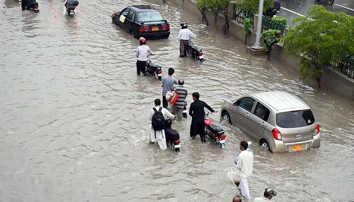 Heavy rains inundated roads in various areas of Karachi. Photo: File