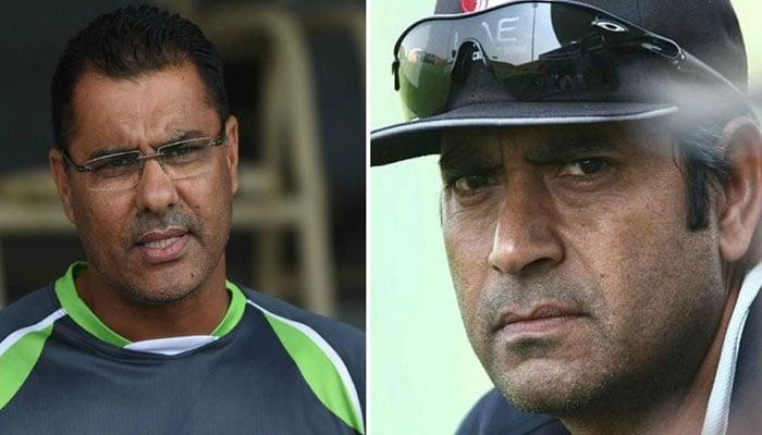 Pakistan teams former coach Waqar Younis andAqib Javed. Photo: file