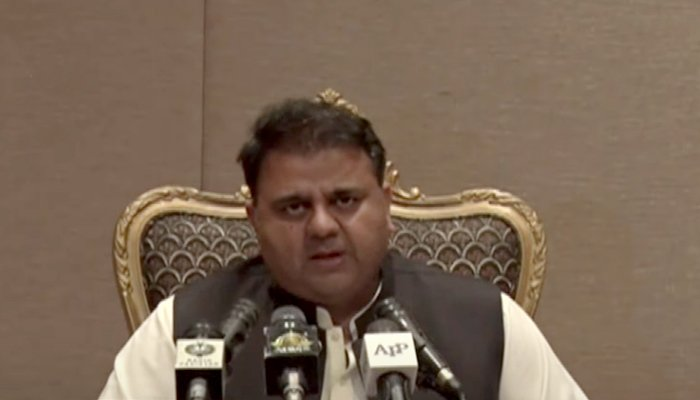 Minister for Information and Broadcasting Fawad Chauhdry addressing a post-cabinet media briefing in Islamabad, on September 7, 2021. — YouTube/HumNewsLive