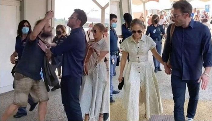 Ben Affleck gets into protective boyfriend mode for Jennifer Lopez at Venice airport