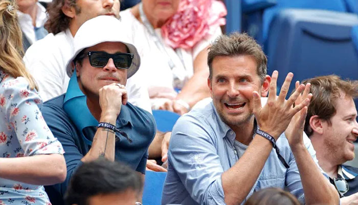 Brad Pitt, Bradley Cooper had a great time watching the game as they were occasionally seen cracking up