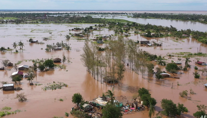 This video grab taken from handout aerial video footage by UNICEF Jan. 24, 2021, shows widespread flooding in the Buzi area of Mozambique after the landfall of Cyclone Eloise. — AFP/File