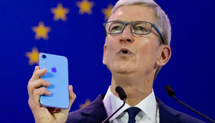 Apple CEO Tim Cook unveils some features of the upcoming products. File photo.