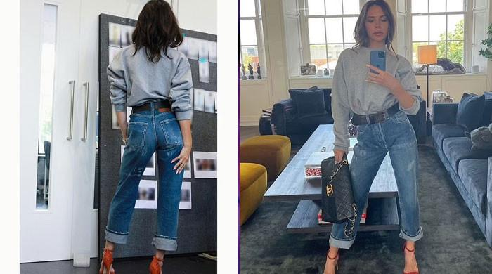 Victoria Beckham highlights her phenomenal frame in denim cropped jeans