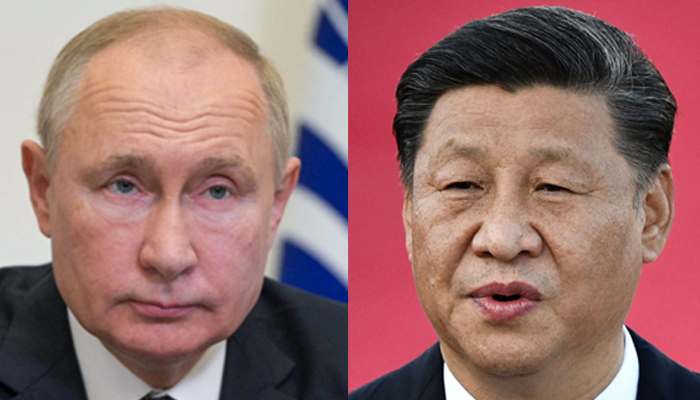 Russian President Vladimir Putin attends a meeting of heads of member states at the Shanghai Cooperation Organization (SCO) summit, held in Dushanbe, via video link at the Novo-Ogaryovo state residence outside Moscow on September 17, 2021 (left) andChina´s President Xi Jinping (R) speaking at Macau´s international airport on December 18, 2019. — AFP