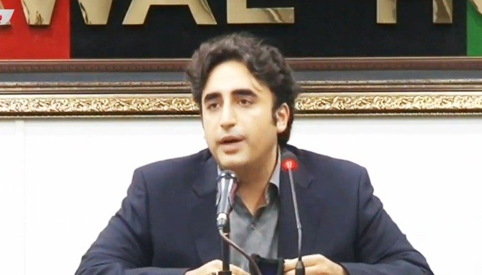 PPP chairperson Bilawal Bhutto-Zardari at a press conference. Photo: Geo News screengrab.