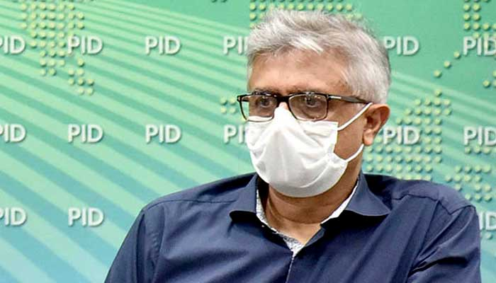 Special Assistant to Prime Minister on Health Dr Umar Sultan while addressing a press conference. Photo— PID