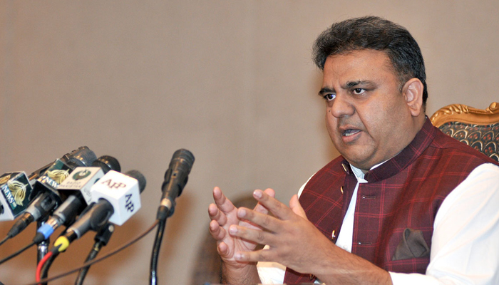 Federal Minister for Information and Broadcasting Fawad Chaudhry addressinga press conference, on September 21, 2021. — APP