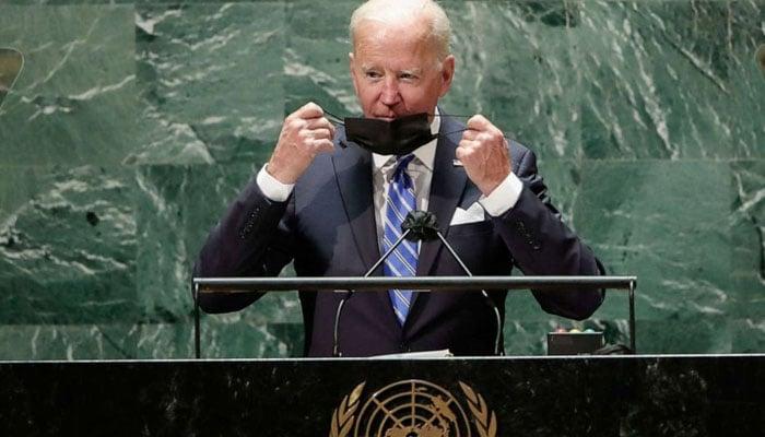 US President Biden addressing the UN General Assembly session. AFP