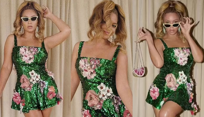 Beyonce delights fans with her stunning looks in shimmering mini dress