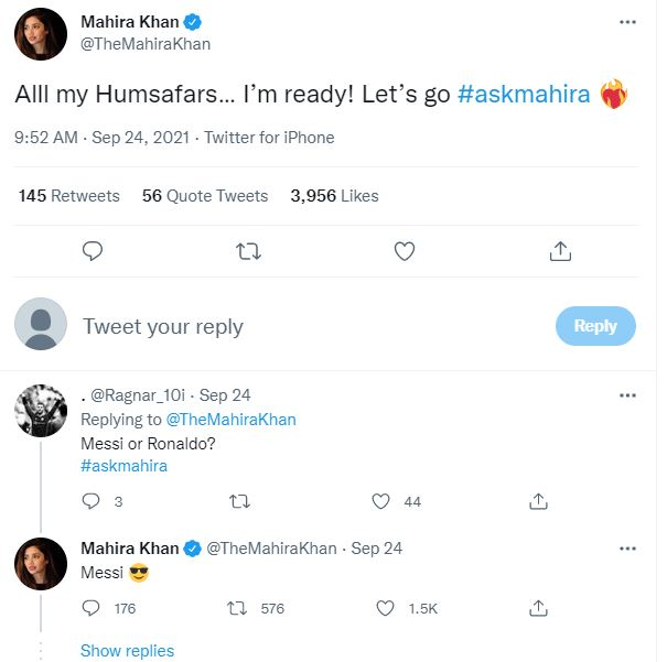 Messi or Ronaldo? Mahira Khan reveals her bias