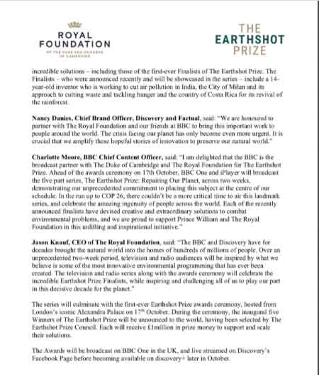 Royal Foundation announces TV series about Prince William's Earthshot Prize