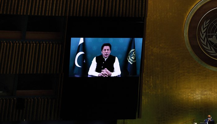 Prime Minister Imran Khan addresses, via prerecorded video the General Debate of the 76th Session of the United Nations General Assembly at UN Headquarters in New York City, U.S., September 24, 2021. — AFP